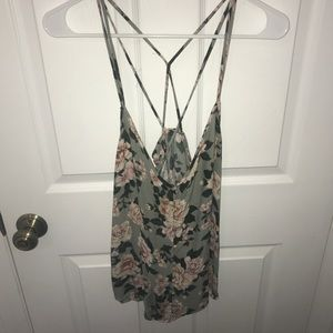 Floral Flowy Tank with Strappy Racerback